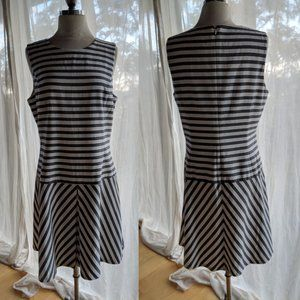 Theory drop-waist dress white with gray stripes